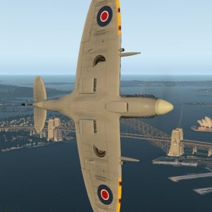 Supermarine Spitfire Mk IX aerobatics over & under Sydney Harbour Bridge and Opera House Xplane 11