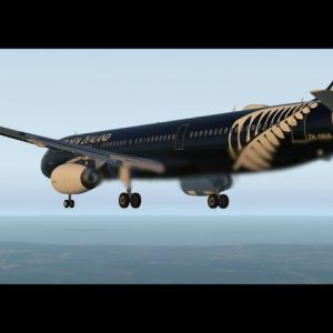 Air New Zealand All Black livery Airbus A321 landing at Brisbane Airport, Haka in the background.