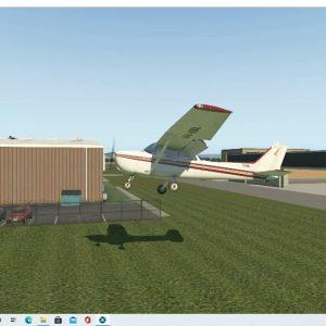 VH-KBL flight through open hangar doors YCAB/Caboolture. C172N livery by Cardinal Brian X-plane sim