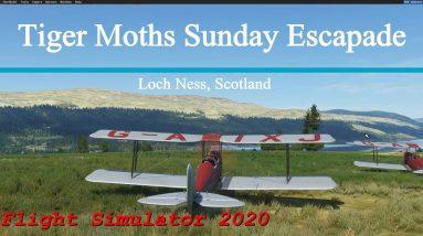 Microsoft Flight Simulator 2020 Tiger Moths Sunday Escapade - Loch Ness - Scotland - Great Scenery