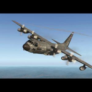 USAF Lockheed C-130 Hercules over Albury NSW Australia. X-plane 11 flight simulator.
