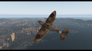 Supermarine Spitfire old HKG Kai Tak airport take off and landing via Rwy13 Checkerboard approach
