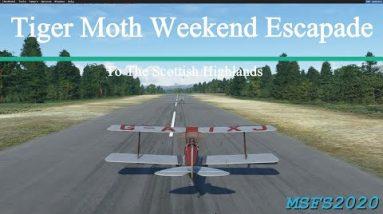 Microsoft Flight Simulator 2020 Tiger Moth Escapade to the Beautiful Summer Scottish Highlands -