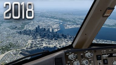 New Flight Simulator 2018 in 4K   Spectacular Approach and Landing in Seattle [Ultra Realism]