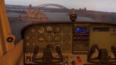 C172H VH-RND under Sydney Harbour Bridge, Opera House, landing then CAT 1 appr & landing. Xplane 11