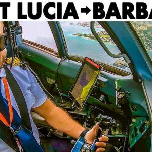St Lucia to Barbados Full Flight in Cockpit ATR42-500 + Regional Pilotlife
