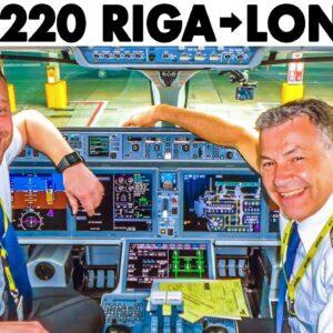 AIRBUS A220 Riga to London + Walkaround - Briefing - Cockpit Presentation