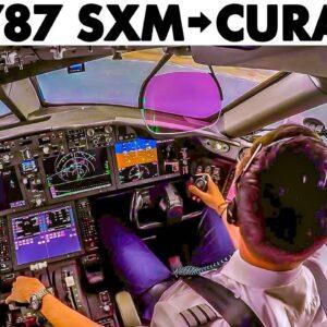 BOEING 787 Full Flight St Maarten to Curacao + Walkaround & Briefings