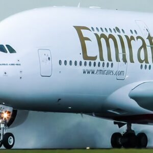 EMIRATES Airbus A380 on Wet Runway at Schiphol Airport