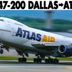 ATLAS AIR Boeing 747-200 Cockpit Dallas to Atlanta (2001) + Flight Engineer Presentation