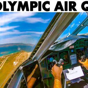 OLYMPIC AIR Q-400 to Athens + Walkaround - Cockpit Presentation
