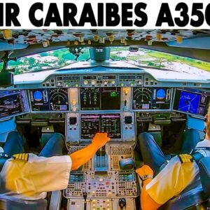 AIRBUS A350-1000 Takeoff from Guadeloupe + Cockpit Pilotsview Takeoff