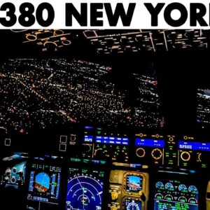 AIRBUS A380 Lovely Night Landing at New York JFK Airport