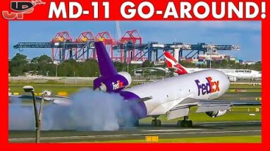 FedEx MD-11 Goes Around after Touchdown on the runway!