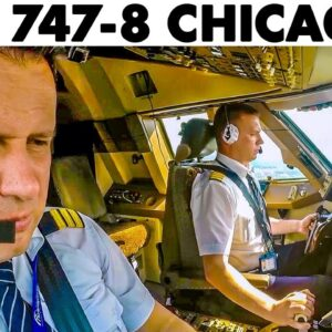 BOEING 747-8 Windy Landing at Chicago O'Hare Airport🇺🇸