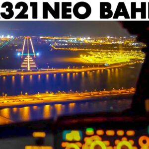 GULF AIR Airbus A321NEO Lovely Night Landing at Bahrain