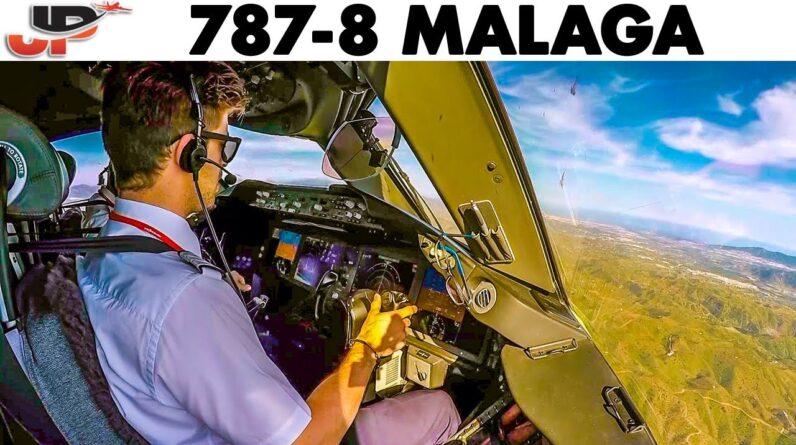 BOEING 787 Dreamliner into Malaga🇪🇸 | Cockpit & Pilotsview Landing